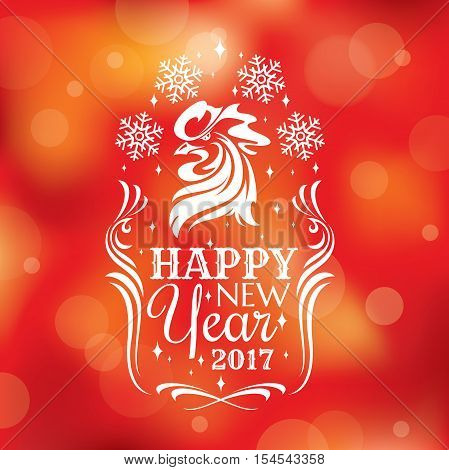 New year greeting card with rooster. Vector illustration eps 10