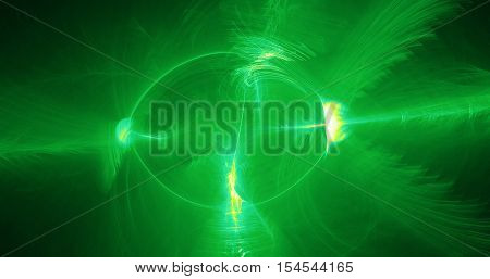Abstract Pattern In Green And Yellow Lines Curves Particles On Dark Background