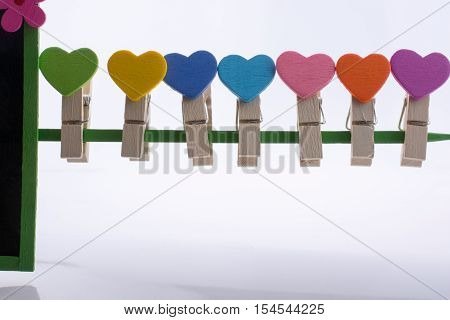 Colorful Clothespin Attached On A Line