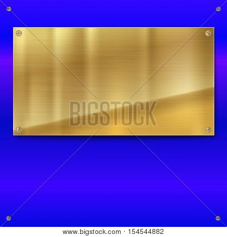 Shiny brushed metal gold, yellow plate with screws. Stainless steel banner on blue polished background, vector illustration for you