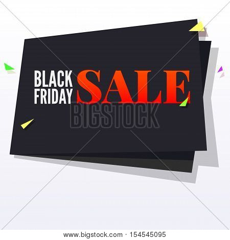 Black Friday sale large black banner, pennant, flag with flying, colored confetti on white background