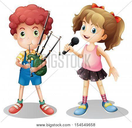 Boy playing bagpipe and girl singing illustration