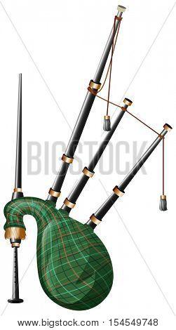 Scottish bagpipe on white background illustration