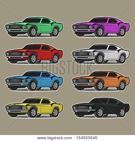 cars in playful drawing style. Different colors