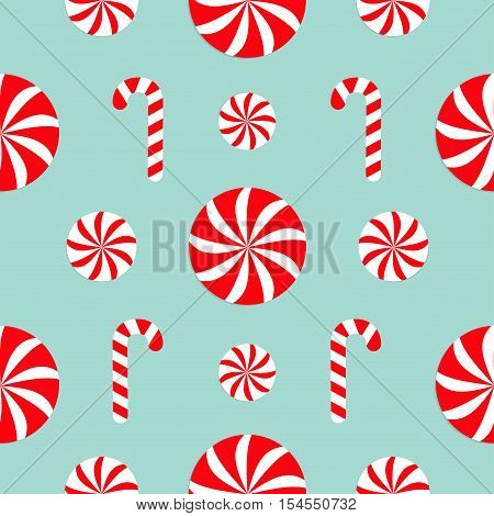 Seamless Pattern Decoration. Christmas Candy Cane Round white and red sweet set. Wrapping paper textile template. Blue background. Flat design. Vector illustration.
