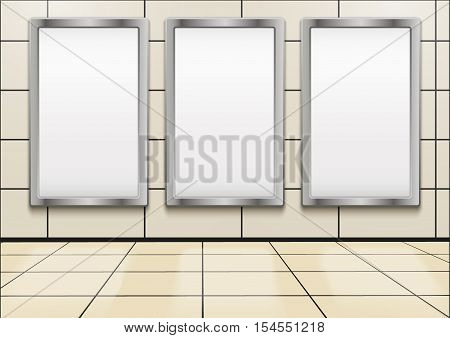 Empty mock-up three vertical billboards inside metro or subway. Vector Illustration isolated on white background.