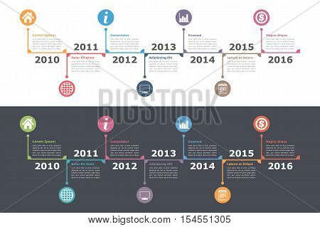 Timeline infographics on white and dark background, workflow or process diagram, flowchart, vector eps10 illustration