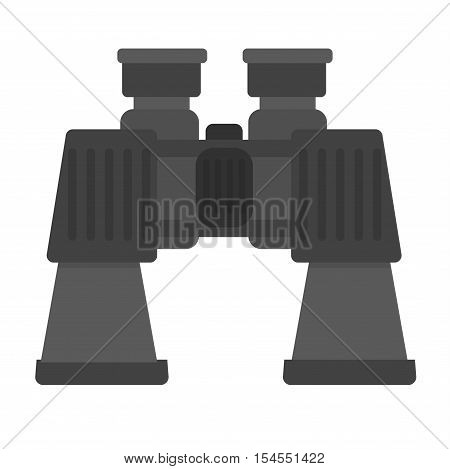 Black binoculars with lens isolated on white background. Binoculars vector illustration. Army green binoculars and binoculars vision military instrument. Discovery binoculars equipment optical zoom.