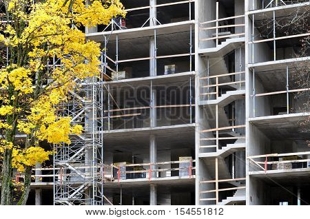 The process of construction of monolithic concrete multistory building. Frame with columns beams and staircases. Yellow maple in the foreground.