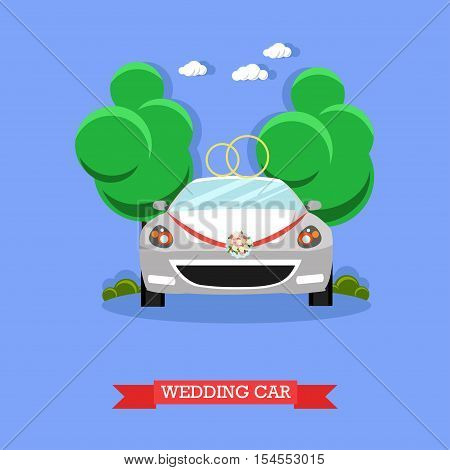 Wedding car - stock vector illustration in flat style