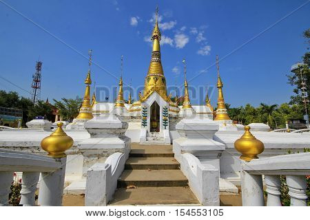 Wide angle view ,Golden pagodas in  Mon-style Chedi of Wat Chedi Thong, The temple's architecture imitates the Burmese
