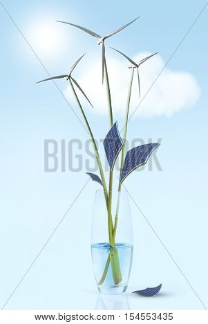flower stems with leaves and wind turbines in vase with water. Green energy concepts