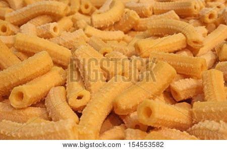 Macaroni Yellow Dry Pasta In The Shape Of Small Tubes