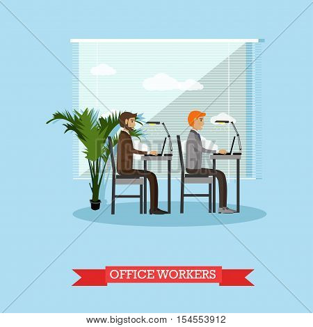 Office workers and business people work with computers. Vector banner concept in flat style design. Office interior.
