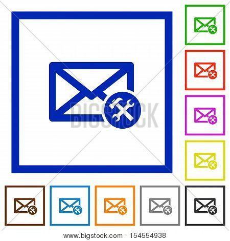 Mail preferences flat color icons in square frames