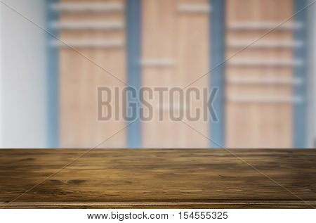 Wooden Table And Old Brown Empty Shelf On Wooden Wall Background, For Product Display Montage