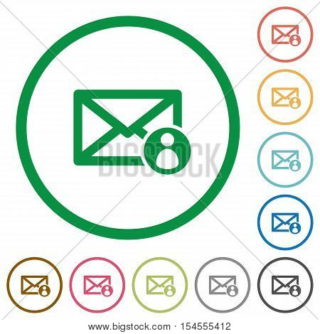 Mail sender flat color icons in round outlines