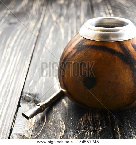 Yerba Mate Tea In A Wooden Mate Calabash