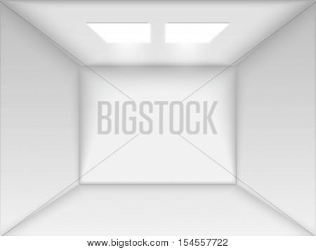 Vector empty white room. Render 3D. Perspective with two Light and Ambient Occlusion