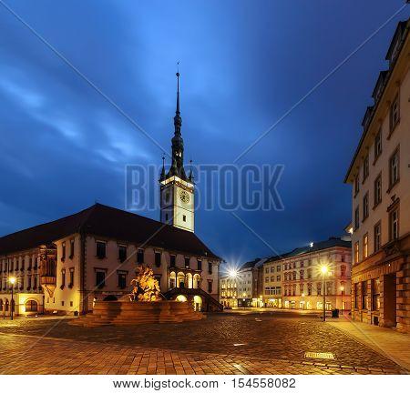 Main square of Olomouc in the evening Czech Republic. Europe.
