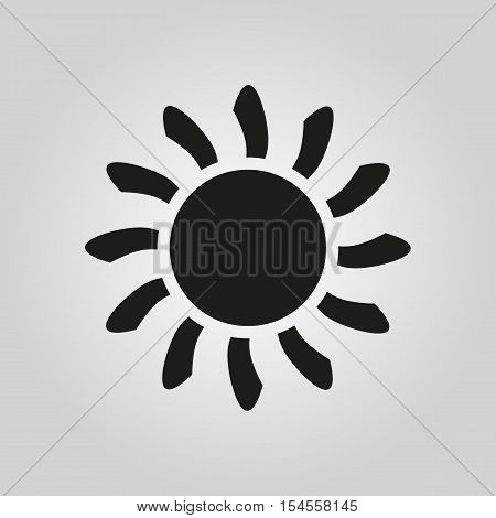 The sun icon. Sunrise and sunshine, weather symbol. UI. Web. Logo. Sign. Flat design. App. Stock vector