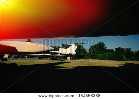 aircraft fuselages at the airport and shadow