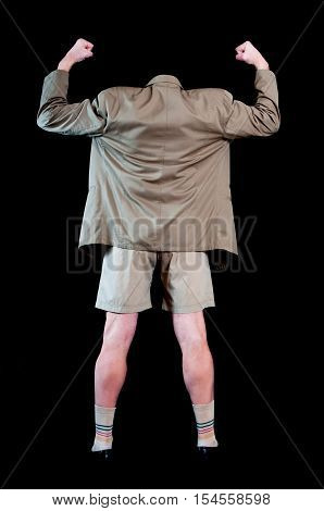 Business man without head with raised hands and clench fist dressed at short pants - funny concept
