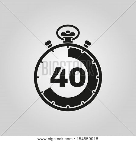 The 40 seconds, minutes stopwatch icon. Clock and watch, timer, countdown symbol. UI. Web. Logo. Sign. Flat design. App. Stock vector