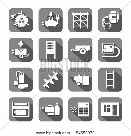 Electrical equipment and building inventory, the icons are flat.  White, electrical, gas and construction equipment on a gray background with shadow.