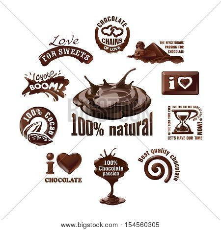 Set vector chocolate logos and labels. Design element.