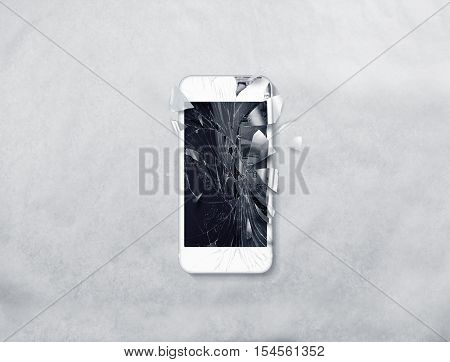 Broken mobile phone screen, scattered shards. Smartphone monitor damage mock up. Cellphone crash and scratch. Telephone display glass hit. Device destroy problem. Smash gadget, need repair.