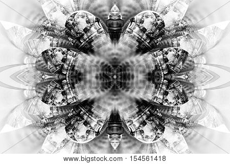 Abstract Flower Mandala On White Background. Intricate Symmetrical Pattern In Black And White Colors