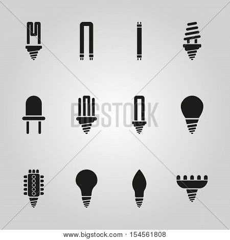 The light bulb icon, set of 12 icons. Lamp and bulb, lightbulb symbol.UI. Web. Logo. Sign. Flat design. App. Stock vector
