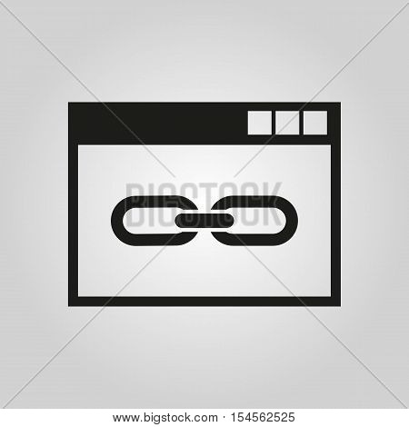 The website link icon. WWW and browser, development, seo symbol. UI. Web. Logo. Sign. Flat design. App. Stock vector