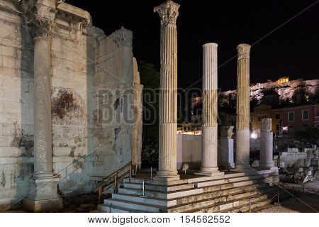 Hadrian's Library and the Acropolis of Athens in the background in Greece- evening photo