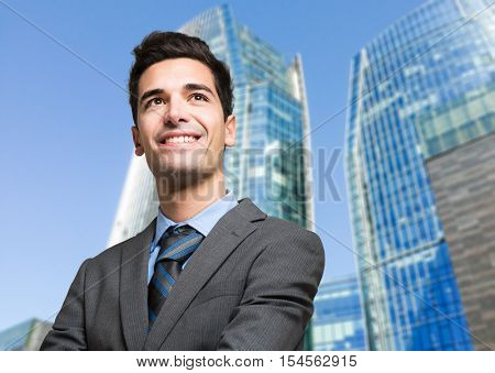 Young successful businessman outdoor