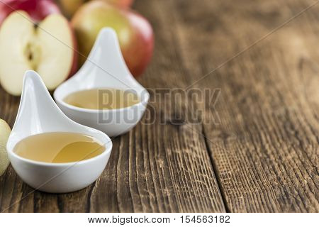 Wooden Table With Applesauce (close-up Shot)