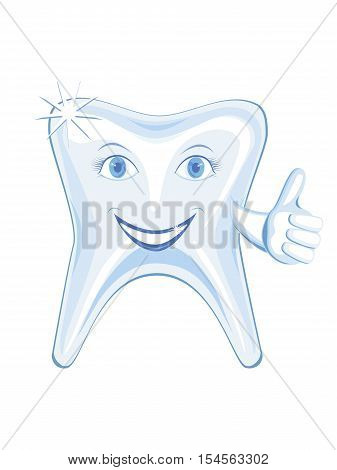 isolalated smiling tooth with a raised thumb, vector