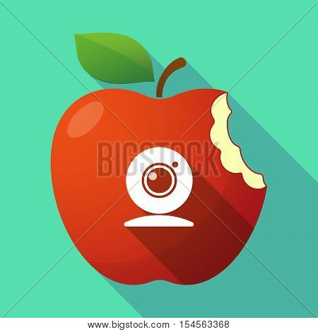 Long Shadow Apple Fruit Icon With A Web Cam