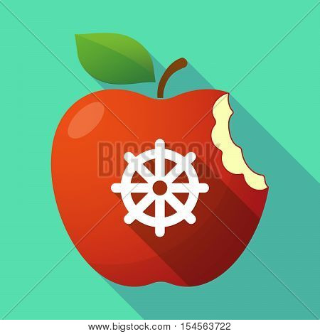 Long Shadow Apple Fruit Icon With A Dharma Chakra Sign
