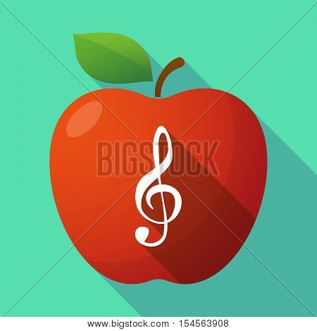 Long Shadow Apple Fruit Icon With A G Clef