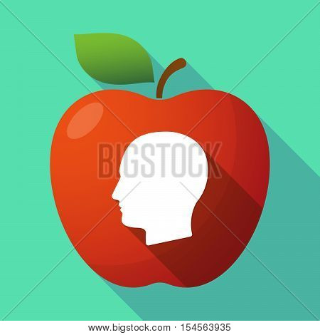 Long Shadow Apple Fruit Icon With A Male Head