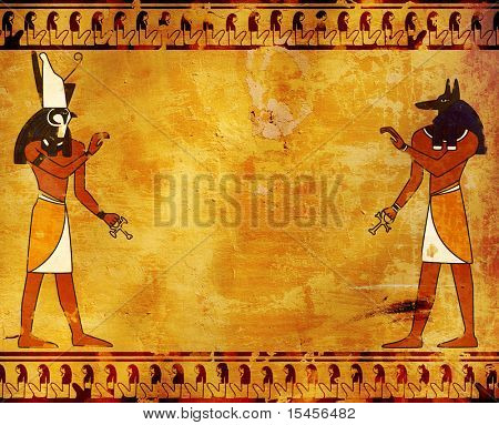 Background with Egyptian gods images - Anubis and Horus poster