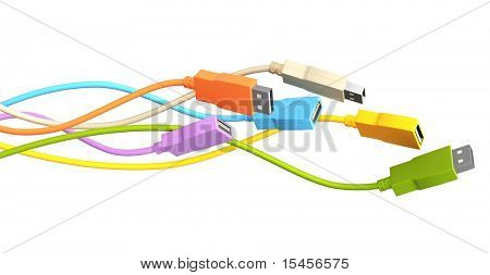 USB cables. Isolated over white