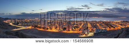 Aerial panoramic view on Eilat (Israel) and Aqaba (Jordan)
