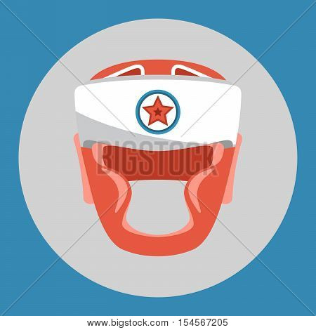 Boxing helmet icon. Red boxing helmet on a blue background. Sports Equipment. Vector Illustration.