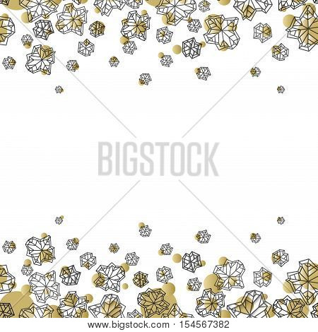 Horizontal seamless border frame. Winter polygonal trendy style snowflakes on white gold background. Winter holidays snowfall concept. Vector illustration stock vector.