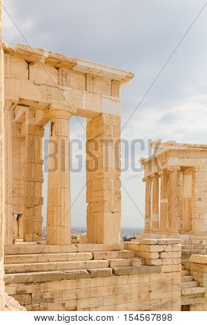 Columns on temple at the Acropolis of Athens in Greece