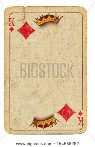 old used playing card king of diamonds paper background with crown