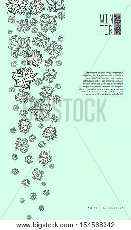 Vertical border snowfall design. Winter polygonal trendy style snowflakes on mint green background. Winter holidays snowfall concept. Vector illustration stock vector.